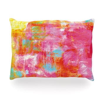"Ebi Emporium ""Off The Grid III"" Pink Yellow Oblong Pillow"