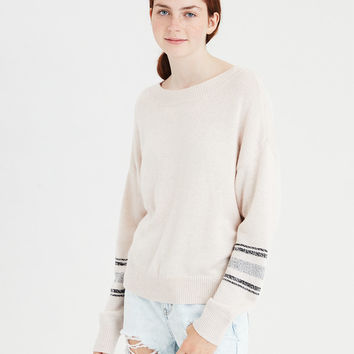 AE Varsity Arm Stripe Pullover, Oatmeal