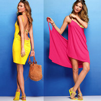 Cute Backless Beach Dress (5 Colors Available)