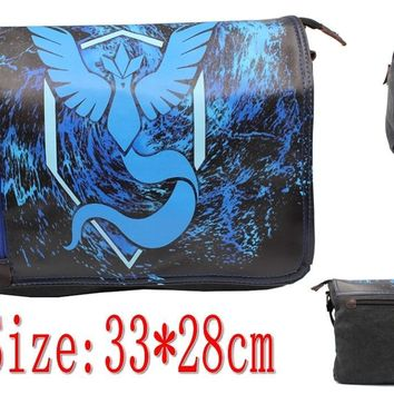 Anime  Go Team Mystic Articuno PU Covered canvas Messenger bag shoulder schoolbag traveling Boy Girls sling bagKawaii Pokemon go  AT_89_9
