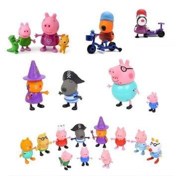 Peppa pig friend Family Pack Dad Mom Action Figure Original Pelucia Anime Toys Boy girl gift set