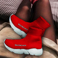 Balenciaga Sneakers  Kint Socks Running Shoes Red white soles