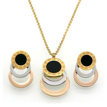 Cassia Necklace + Earrings Set - Stainless Steel