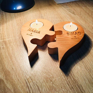 Fast Shipping Wood Candle Tea Light Holder | Heart Wood Candle Holder | Tealight Candle Holder | Log Wood Tealight Holder