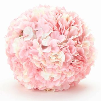 "Pink Blush Silk Hydrangea Pomander Kissing Ball - 8"" Wide"