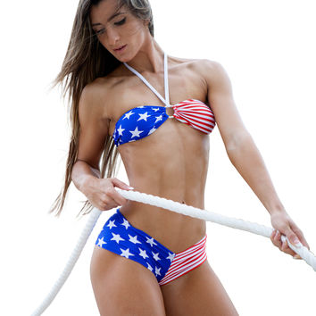 American Flag Bandeau Bikini 4th Of July Patriotic Swimwear
