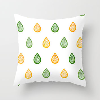 Yellow and green raindrops Throw Pillow by Savousepate