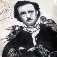 Handpainted tote bag Edgar Alan Poe Crows Fanart custom eco friendly bag