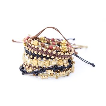 Macrame Beaded Bracelet - Gold