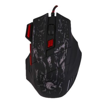H300 5500DPI 7 Button Black and Red USB Gaming Mouse
