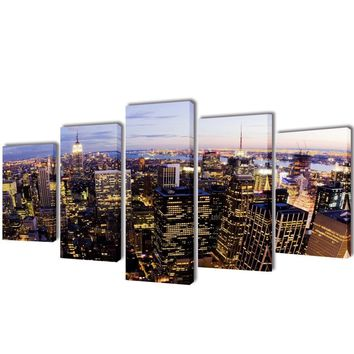 """Wall Decor Canvas Print Art Framed 5 Panels 79"""" Abstract Painting NYC Skyline"""