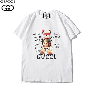 GUCCI x Supreme Joint Series Trendy Bear Print Round Neck Joker Short Sleeve T-Shirt White