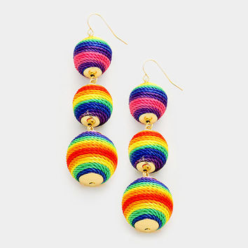 Multi-Color Rainbow Bon Bon Style Ball Drop Earrings, Thread Ball Earrings, Triple Thread Wrapped Earrings, Silk Thread Earrings