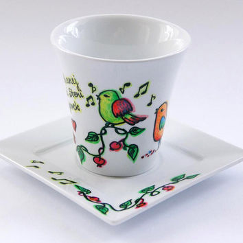 Custom Hand painted coffee cup  with three birds, twigs with apples and dedication. Unique gift for Mother. Grandparents Day gift.