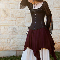Dark Purple Linen Pixie Skirt Renaissance Halloween Costume