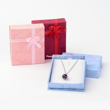 120pcs/lot Cardboard Pendant Necklaces Boxes 8x7x2cm  Valentines Day Presents Packages Displaying Pendants, Mixed Color