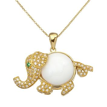 Sophie Miller Simulated White Agate, Cubic Zirconia & Simulated Emerald 14k Gold Over Silver Elephant Pendant Necklace