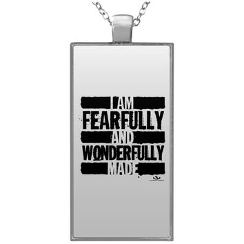 I AM FEARFULLY AND WONDERFULLY MADE Rectangle Necklace
