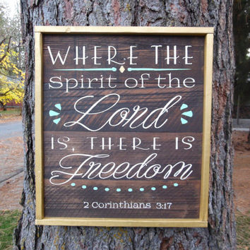 "Joyful Island Creations ""Where the spirit of the Lord is, there is freedom"" wood sign, christian sign, 2 corinthians 3:17"