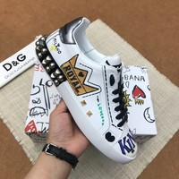 Dolce&Gabbana DG White Black King Print Low-Top Sneakers - Best Deal Online