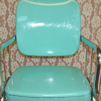 Vintage Turquoise/Teal Cosco Child's Chair. Youth Chair. Toddler. Chrome Frame. Mid-Century Decor.