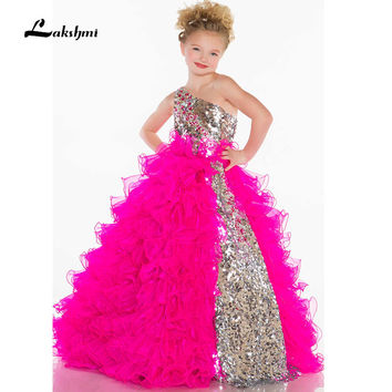 Hot Sale Ball gown Cute Flower girl Dresses One shoulder Backless Tiered Sequins Beauty Little girls Pageant dresses
