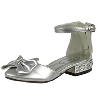 Kids Dress Shoes Metallic Heel Rhinestone Accen Pageant Low Heels SILVER SZ