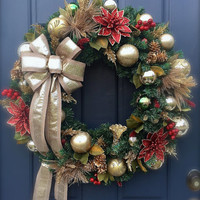 Large Red Gold Christmas Wreath Evergreen Holiday Door Wreaths Gold Decor
