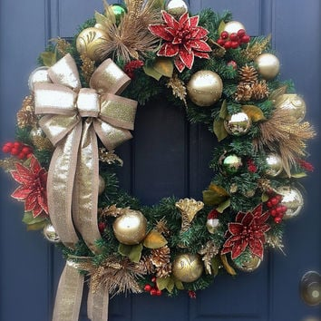 large red gold christmas wreath evergreen holiday door wreaths gold decor - Large Christmas Wreath