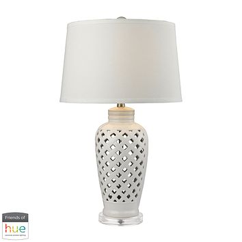 Openwork Ceramic Table Lamp in White with White Shade - with Philips Hue LED Bulb/Bridge