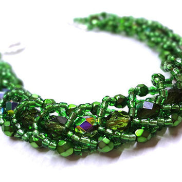 Dazzling Green Braclete Beaded Flat Spiral by MegansBeadedDesigns