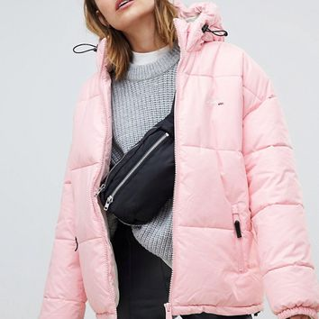 Schott padded jacket with embroidered logo and hood at asos.com