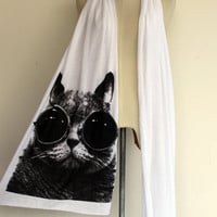 Black Cat Scarf Animal Screenprinted Long Jersey in White Cotton Scarf Women/Men.