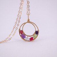 14K Gold Mother's Necklace with 6 Birthstones, Mother's Day Necklace, Mother of the bride & Groom gift, Mother's Day Gift