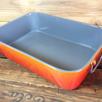 Descoware Roasting Pan Lasagna Pan Orange Flame Cast Iron Enamelware Grey Glissemaille  Le Creuset