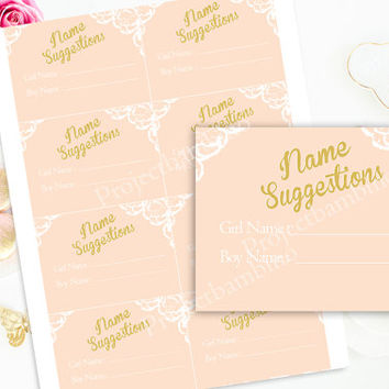 Pink and Gold Name Suggestion cards baby shower girl baby shower name suggestion cards printable instant download digital diy