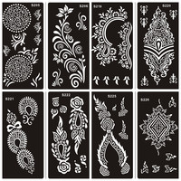 10pcs  Mehndi Indian Henna Tattoo Stencils,Temporary Glitter Airbrush Henna Tattoo Hand Finger Templates Stencil For Painting