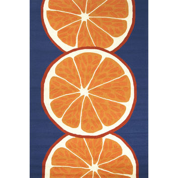 Indoor/Outdoor Abstract Pattern Orange/Blue Polypropylene Area Rug (2x3)