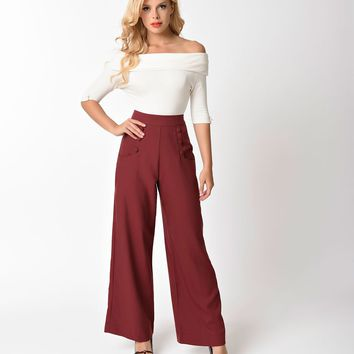 Unique Vintage 1940s Style Burgundy Red High Waist Sailor Ginger Pants