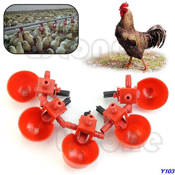 5Pcs Bird Coop Feed Automatic Poultry Water Drinking Cups Chicken Fowl Drinker-Y102