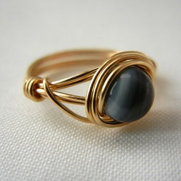 Wire Wrapped Jewelry Handmade, Black Mother of Pearl Ring, Black Ring, Brass Wire Wrapped Ring, Wire Wrap Ring, Mother of Pearl Jewelry