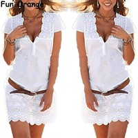 Fun Orange New Elegant Women Lace Floral Short Sleeve Casual Party Mini Dress Women Summer Dress