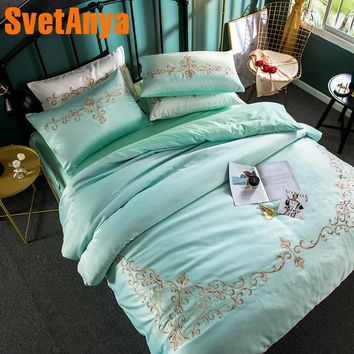 Svetanya Aqua Embroidered Bedding sets Queen King size Bedlinen Sheet Pillowcases Duvet Cover set Silk Polyester Cotton Fabric