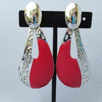 HUGE 1980's Red Enamel Silver Tone Dangle Comma Pierced Earrings
