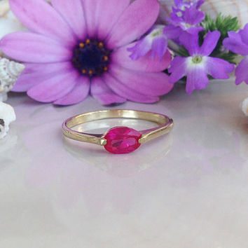 20% off-SALE!! Ruby Ring - Gold Ring - Stack Ring - Dainty Ring - Fuchsia Ring - Tiny Ring - July Birthstone Ring - Simple Ring - Prong Ring