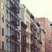New York Fire Escapes, NYC Photography, Urban Art, City Street, Tribeca, Architecture  - One Way