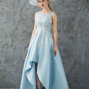 Sky Blue Prom Dresses Short Front Long Back Lace Crystal Satin Sleeveless Evening Party Gown