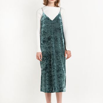 Green Velvet Slip Midi Dress