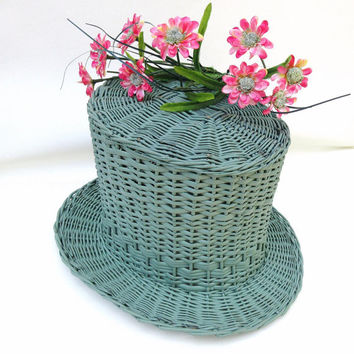 Vintage Wicker Hat / Wicker Basket / Hat Planter / Top Hat Basket, Jadite Green
