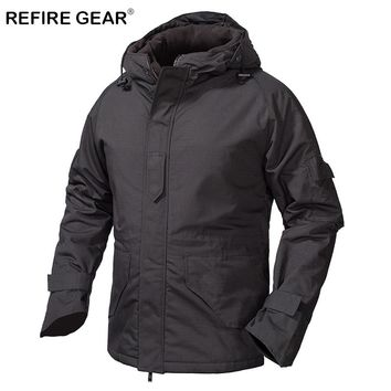 ReFire Gear Winter Outdoor Fleece Tactical Windbreaker Jacket Men Camouflage Waterproof Military Field Jacket Hoodie Warm Coats